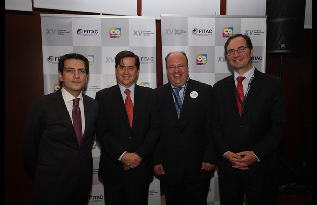 From left to right : Miguel Espinoza, Executive President of FITAC; Juan Fernando Cristo, President of the Senate of Colombia, Guillermo Gonzalez, President of the FITAC Council and Sergio Mujica, Deputy Secretary General of the WCO