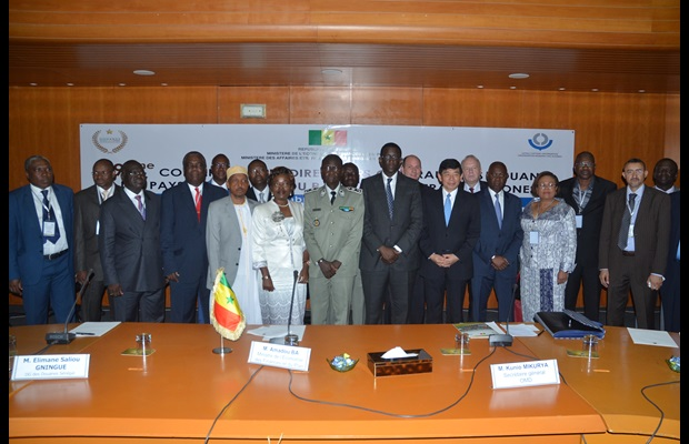 Pictured at the 19th Conference of Directors General of Customs of French-speaking countries are the Directors General of Comoros, Cameroon, Senegal, the Senegalese Minister of Finance, WCO Secretary General, Directors General of Gabon and the Central African Republic.