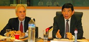 Mr. Norman Schenk, UPS Vice President, who chaired the ICC Commission on Customs and Trade Facilitation, and Mr. Kunio Mikuriya, WCO Secretary General.