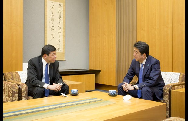 Japan Prime Minister, Shinzo Abe, and WCO Secretary General, Kunio Mikuriya