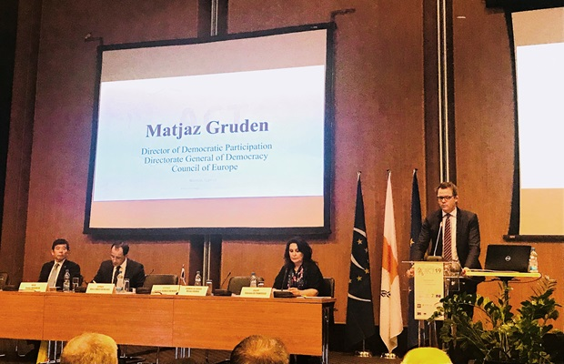 "Mr. Matjaz Grudent from the Directorate General of Democracy, Council of Europe, during his intervention at the Conference ""Act for Heritage!"" in Nicosia, Cyprus in October 2019"