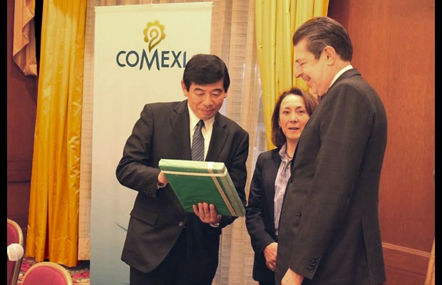 From left to right: WCO Secretary General Kunio Mikuriya, COMEXI Director General Claudia Calvin and COMEXI President Jaime Zabludovsky