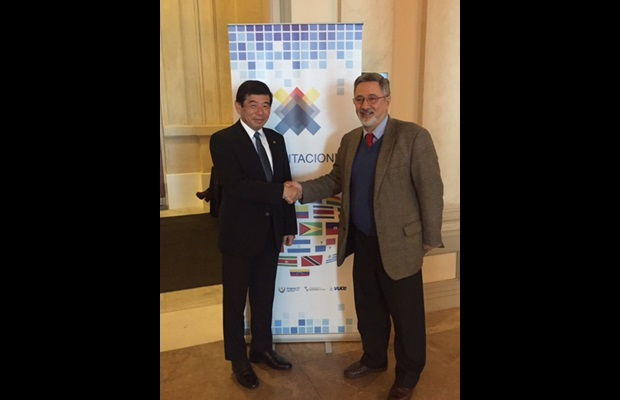 WCO Secretary General Kunio Mikuriya and WCO Chair Enrique Canon during their meeting in Montevideo, Uruguay