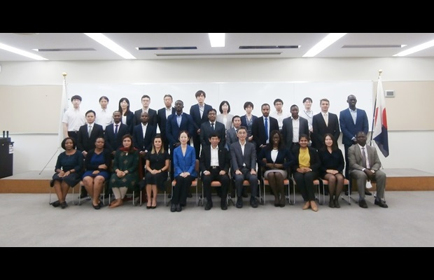 The eighteen scholars from the Japan-WCO Scholarship Programme who are following the Master's Degree Programme in Public Finance at the GRIPS or in Strategic Management and IPR at AGU