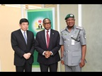 From left to right: Secretary General Mikuriya, the Minister of Industry, Trade and Investment, Mr. Olusegun Olutoyin Aganga, and the Comptroller-General of the Nigeria Customs Service (NCS), Mr. Abdullahi Dikko Inde
