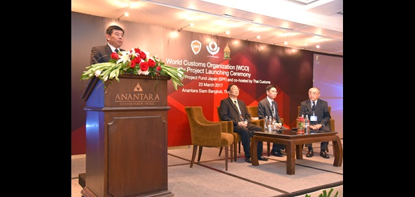 SG Mikuriya making a speech during the launching ceremony of the WCO Security project. Sitting: From left to right, Deputy Secretary General of Thai National Security Council, Thai Customs DG, and Japanese Ambassador.
